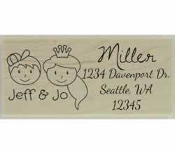 "Custom Faces Couple Return Address Stamp - 2.5"" X 1.25"" - Stamptopia"