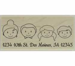 "Custom Faces Family Of Four Address Stamp - 2.5"" X 1.25"" - Stamptopia"