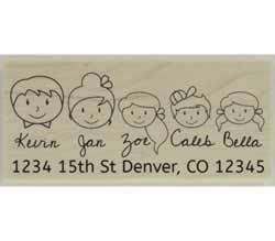 "Custom Family Faces Address Stamp - 2.5"" X 1.25"" - Stamptopia"