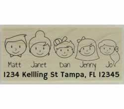 "Custom Family Of Five Address Stamp - 2.5"" X 1.25"" - Stamptopia"