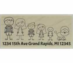 "Custom Family Of Five And Dog Address Stamp - 2.5"" X 1.25"" - Stamptopia"