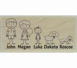 "Custom Family With Two Dogs Stamp - 2.5"" X 1.25"" - Stamptopia"