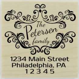 "Custom Flourish Border Return Address Stamp - 2"" X 2"" - Stamptopia"