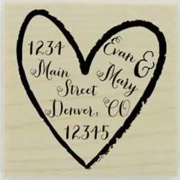 "Custom Heart Border Address Stamp - 2"" X 2"" - Stamptopia"