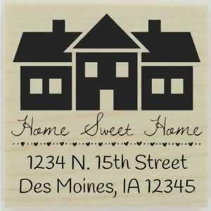 "Custom Home Sweet Home Address Stamp - 1.5"" X 1.5"" - Stamptopia"