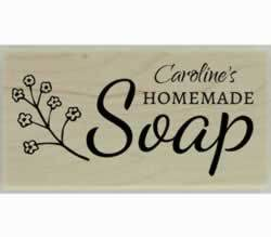 "Custom Homemade Soap Rubber Stamp - 3"" X 1.5"" - Stamptopia"