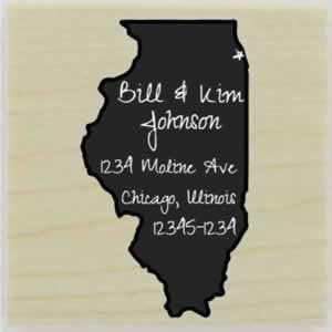 "Custom Illinois Stamp Design 2 - 1.5"" X 1.5"" - Stamptopia"