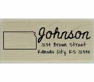 "Custom Kansas Stamp Design 3 - 2.5"" X 1"" - Stamptopia"