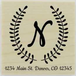 "Custom Laurel Wreath Monogram Address Stamp - 1.5"" X 1.5"" - Stamptopia"
