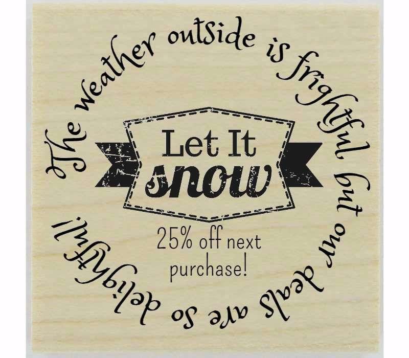 "Custom Let It Snow Stamp - 1.5"" X 1.5"" - Stamptopia"