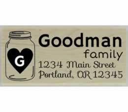 "Custom Mason Jar With Heart Monogram Address Stamp - 2.5"" X 1"" - Stamptopia"