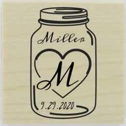 "Custom Mason Jar With Heart Monogram Stamp - 1.5"" X 1.5"" - Stamptopia"