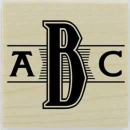 "Custom Monogram With Lines Rubber Stamp - 1.5"" X 1.5"" - Stamptopia"