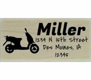 "Custom Moped Return Address Stamp - 2.5"" X 1"" - Stamptopia"