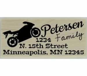 "Custom Motorcycle Address Stamp - 2.5"" X 1"" - Stamptopia"