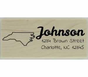 "Custom North Carolina Stamp Design 3 - 2.5"" X 1"" - Stamptopia"