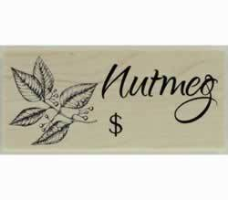 "Custom Nutmeg Herb Design Stamp - 2"" X 1"" - Stamptopia"