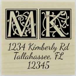 "Custom Ornamental Initial Return Address Stamp - 1.5"" X 1.5"" - Stamptopia"