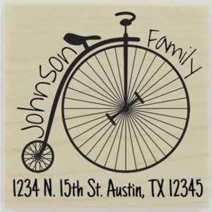 "Custom Penny Farthing Address Stamp - 1.5"" X 1.5"" - Stamptopia"