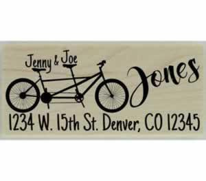 "Custom Tandem Bicycle Return Address Stamp - 2.5"" X 1"" - Stamptopia"