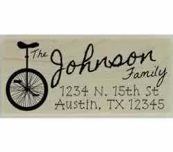 "Custom Unicycle Address Stamp - 2.5"" X 1"" - Stamptopia"