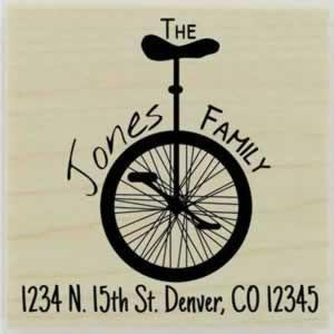 "Custom Unicycle Return Address Stamp - 1.5"" X 1.5"" - Stamptopia"