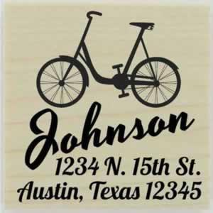 "Custom Vintage Bike Address Stamp - 1.5"" X 1.5"" - Stamptopia"
