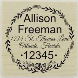 "Custom Wedding Floral Border Address Stamp - 2"" X 2"" - Stamptopia"