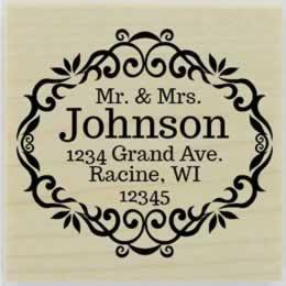 "Custom Wedding Flourish Border Address Stamp - 2"" X 2"" - Stamptopia"