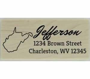 "Custom West Virginia Stamp Design 3 - 2.5"" X 1"" - Stamptopia"