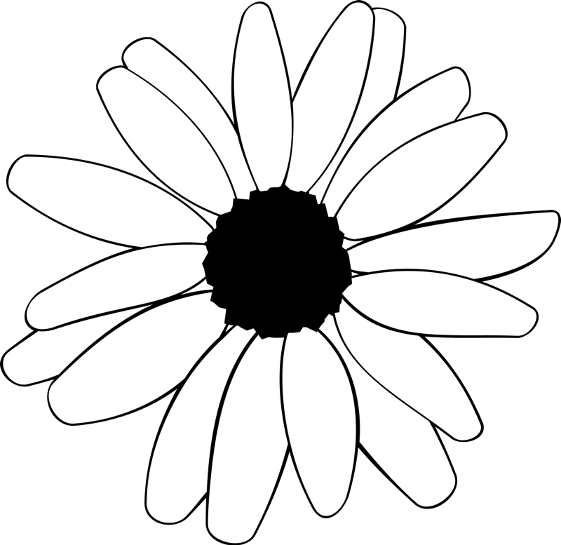 Daisy Outline Rubber Stamp - Stamptopia