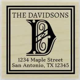"Davidson Decorative Monogram Address Stamp - 1.5"" X 1.5"" - Stamptopia"