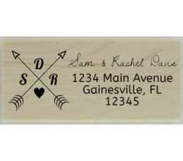 "Davis Double Arrow Monogram Address Stamp - 2.5"" X 1"" - Stamptopia"