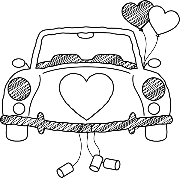 Decorated 'Just Married' Car Stamp - Stamptopia