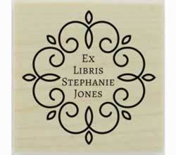 "Decorative Border Ex Libris Rubber Stamp - 1.5"" X 1.5"" - Stamptopia"