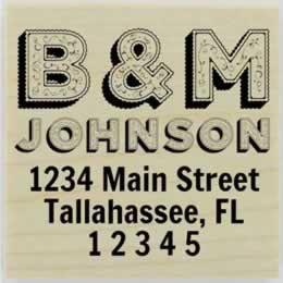 "Decorative Letters Personalized Monogram Address Stamp - 1.5"" X 1.5"" - Stamptopia"
