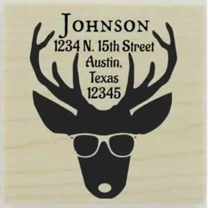 "Deer Head With Glasses Address Stamp - 1.5"" X 1.5"" - Stamptopia"