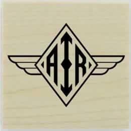 "Diamond With Wings Monogram Stamp - 1.5"" X 1.5"" - Stamptopia"