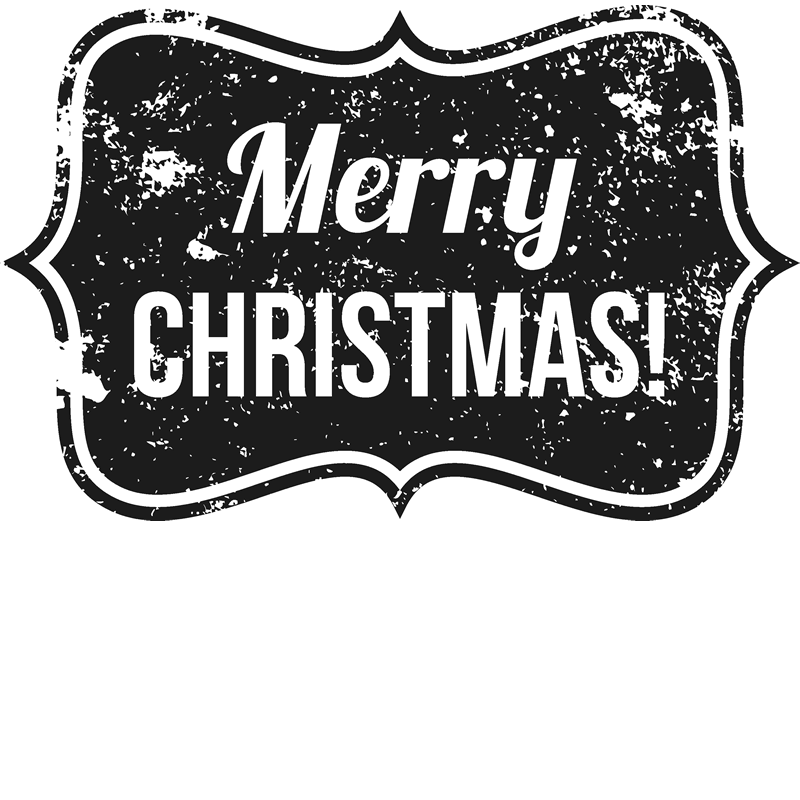 Distressed Merry Christmas Badge Rubber Stamp - Stamptopia