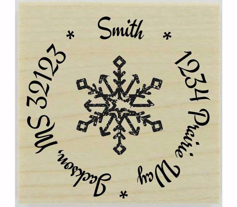 "Distressed Snowflake Stamp - 1.5"" X 1.5"" - Stamptopia"