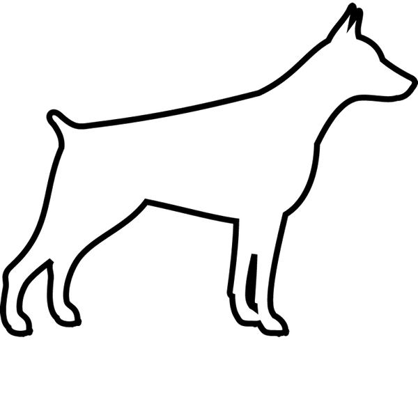 Doberman Rubber Stamp (Outline) - Stamptopia