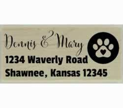 "Dog Paw Print In Circle Custom Address Stamp - 2.5"" X 1"" - Stamptopia"