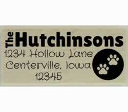 "Dog Paw Prints In Circle Custom Address Stamp - 2.5"" X 1"" - Stamptopia"