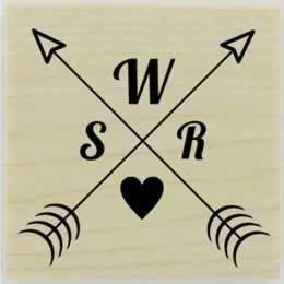 "Double Arrow And Heart Monogram Stamp - 1.5"" X 1.5"" - Stamptopia"