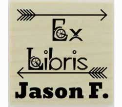 "Double Arrow Ex Libris Bookplate Rubber Stamp - 1.5"" X 1.5"" - Stamptopia"