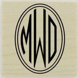 "Double Circle Border Monogram Stamp - 1.5"" X 1.5"" - Stamptopia"