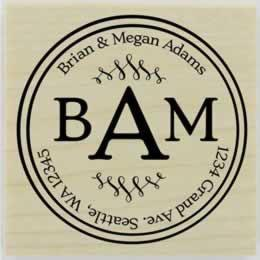 "Double Round Border Monogram Address Stamp - 1.5"" X 1.5"" - Stamptopia"