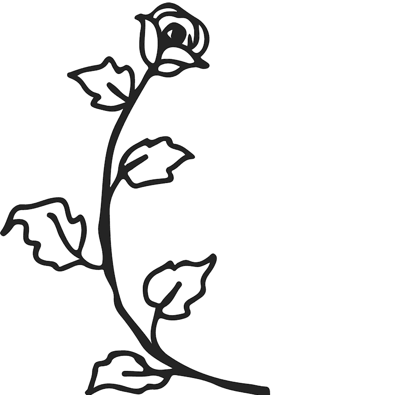 Drawn Rose Stem Rubber Stamp - Stamptopia