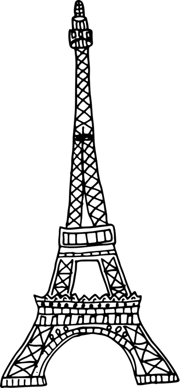 Eiffel Tower Rubber Stamp Sketch - Stamptopia