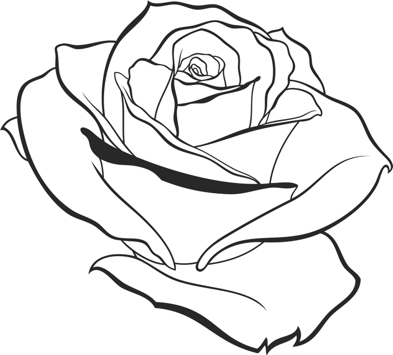 Elegant Drawn Rose Rubber Stamp - Stamptopia